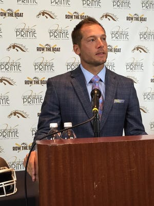Western Michigan football coach P.J. Fleck talks to the media Tuesday ahead of the Broncos' game against No. 1-ranked Ohio State.