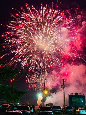 Although not permitted to open the gates, Bearcat Stadium was, as tradition, the site for the City of Booneville/South Logan County Chamber of Commerce's annual fireworks show on Saturday, July Fourth.