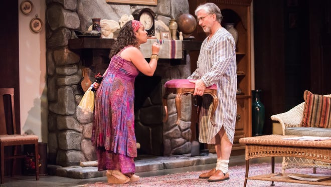 "Rána Roman and C. Michael Wright perform in ""Vanya and Sonia and Masha and Spike."""
