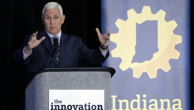 Mike Pence speaks during the Innovation Showcase, July 14, 2016, Indianapolis.