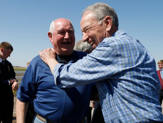 U.S. Secretary of Agriculture Sonny Perdue laughs with