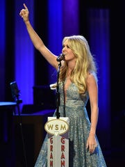 Singer Carrie Underwood performs at the Grand Ole Opry
