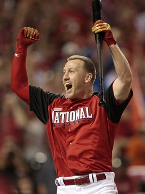 Todd Frazier celebrates after winning the 2015 Home Run Derby at Great American Ball Park.