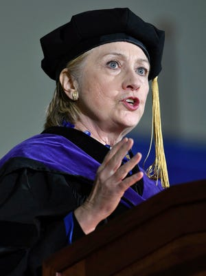 Hillary Clinton speaks at Wellesley College on May 26, 2017.