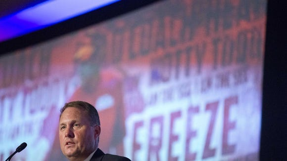 Mississippi coach Hugh Freeze speaks to the media at the SEC Media Days Thursday in Hoover, Alabama.