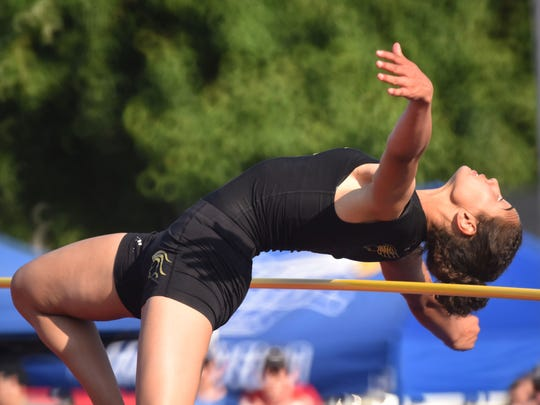 Tiffany Bautista, of Paramus Catholic, competing in the high jump at the State Meet of Champions for track and field on Saturday, June 10, 2017. Bautista qualified in four events, winning medals as part of the seventh place 48.26 4-x-100 team, and as the fifth place finisher in the long jump. She just missed medals in the high jump (9th at 5-4) and triple jump (10th at 36-10).
