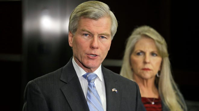 Former Virginia governor Bob McDonnell speaks during a news conference in January in Richmond, Va., accompanied by his wife, Maureen McDonnell.