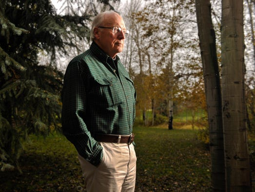 Former vice president Dick Cheney at his home outside of Jackson Hole, Wyo.