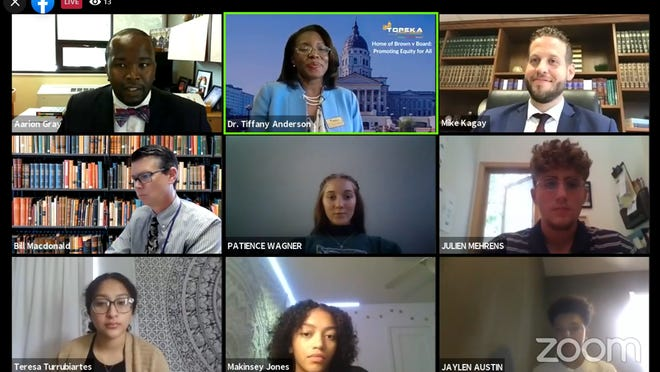 Leadership students at Topeka West High School participate in a Q&A on Tuesday afternoon with District Attorney Mike Kagay on Zoom.