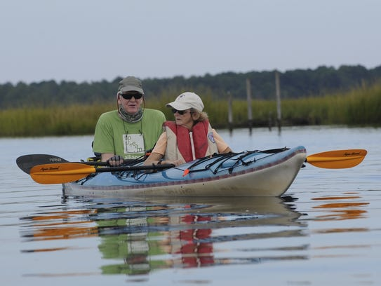 News Journal reporter Molly Murray rides a kayak with