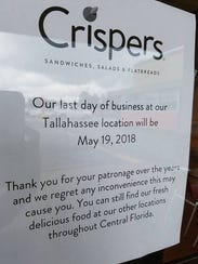 Crispers, a sandwich and salad shop, is closing its