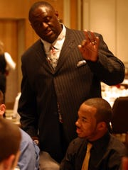 NFL great Leonard Marshall talks with Long Branch's Jack Stovall and fellow Lombardi Award recipients at the Lombardi Awards Dinner in Eatontown. Ed Curry/Special to NorthJersey.com