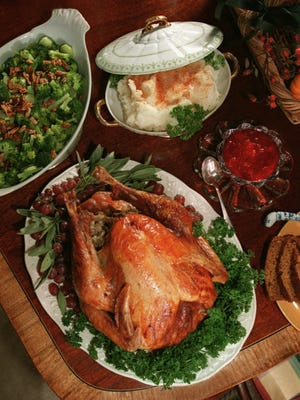 Several restaurants in the tri-county area will be open and serving Thanksgiving dinner today. Gannett File Thanksgiving dinner with broccoli, clockwise from top left, mashed potatoes, cranberry sauce, and a roasted turkey. (Gannett News Service, Rex Perry/The Nashville Tennessean)