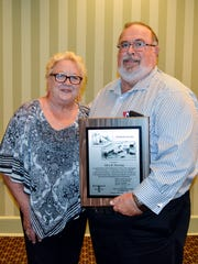 During the East Central/Select Sires Annual Meeting on Tuesday, Aug. 22, retired general manager Alan Deming was honored with the prestigious Pioneer Award for his dedicated service to the employees and membership of East Central/Select Sires. Deming is pictured with his wife, Betty.
