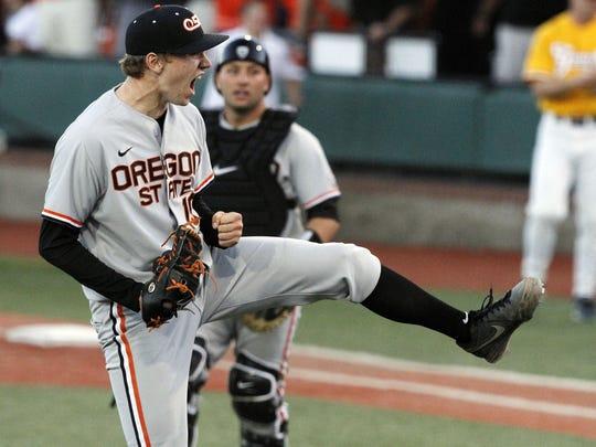 Oregon State pitcher Max Engelbrekt led the Beavers