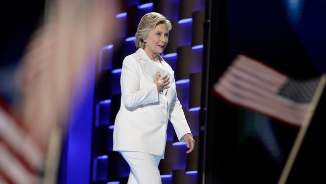 Democratic presidential nominee Hillary Clinton appears during the final day of the Democratic National Convention in Philadelphia on July 28.