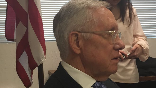 U.S. Senate Minority Leader Harry Reid, D-Nev., talks at Washoe County Democratic Party headquarters in Reno on Wednesday.