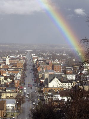 A rainbow arches over downtown Chillicothe after a storm in this Gazette file photo.