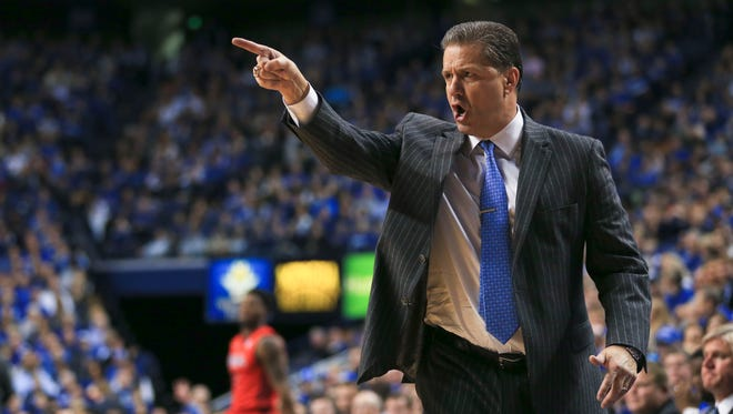 Kentucky's John Calipari makes a point during the game against Ole Miss.