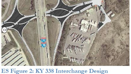 This art rendering shows what a new Richwood Road (Ky. 338) interchange at I-75 in Union will look like once constructed.