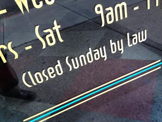Indiana's package liquor stores are closed on Sunday because of the state law banning the sale of alcohol.