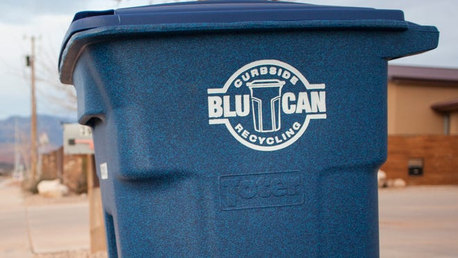 BluCan recycling bins placed on a curb in Washington City Wednesday, Feb. 17, 2016.
