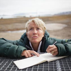Actress Emma Thompson takes notes at the international scientific research settlement of Ny-Ålesund, Svalbard.  She is in Norway with Greenpeace as part of the Save the Arctic campaign, working for the protection of the Arctic.