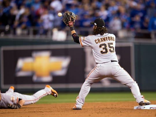 San Francisco Giants second baseman Joe Panik throws to San Francisco Giants shortstop Brandon Crawford for a double play in Game 7 of the World Series against the Kansas City Royals on Wednesday.