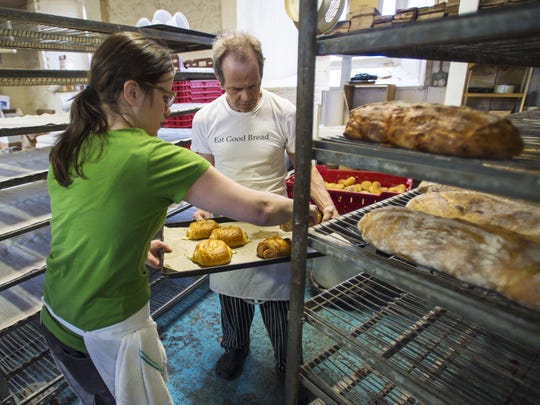 Sophie Conway and her father Chuck Conway work at O Bread Bakery at Shelburne Farms in Shelburne on Friday, April 22, 2016.