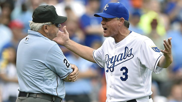 Royals manager Ned Yost tries to argue a pivotal ruling by umpire Larry Vanover in the sixth inning of Saturday's game.