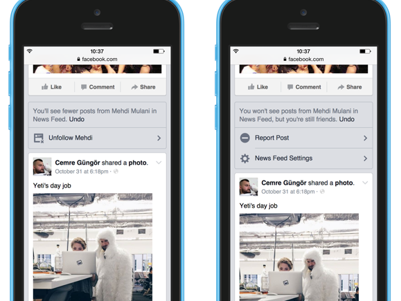 A screenshot of Facebook's updated News Feed controls.