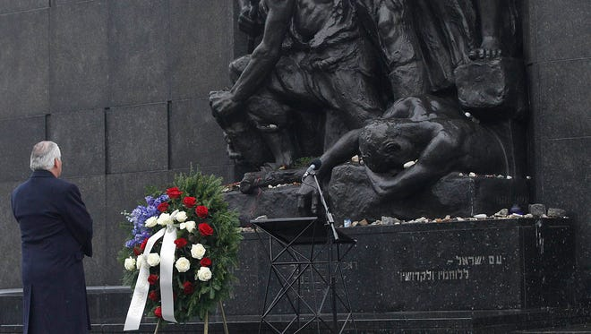 U.S. Secretary of State Rex Tillerson lays a wreath during a ceremony at the Warsaw Ghetto Uprising 1943 memorial marking the International Holocaust Remembrance Day, in Warsaw, Poland.