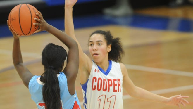 Cooper's Olivia Ellington (11) defends against Lubbock Monterey's Mirakle Bradley (24). Monterey beat the Lady Cougars 69-57 in the District 4-5A game Tuesday, Jan. 23, 2018 at Cougar Gym.