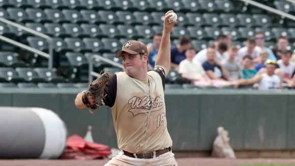 Clarkstown South pitcher Kieran Finnegan pitches Mamaroneck during the Section 1 Class AA baseball championship game at Palisades Credit Union Park in Pomona May 26, 2018. Finnegan pitched a one-hit complete game as Clarkstown South defeated Mamaroneck 4-0.