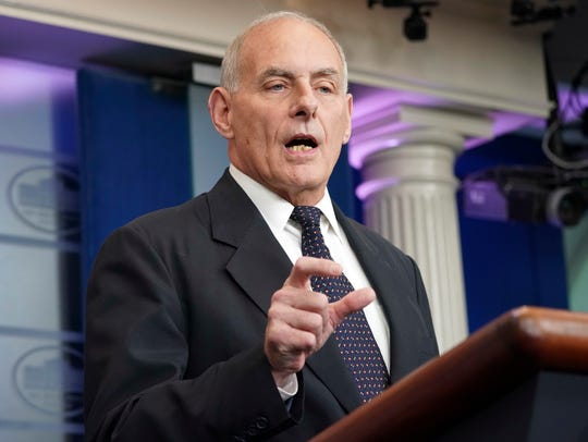 White House Chief of Staff John Kelly speaks to the