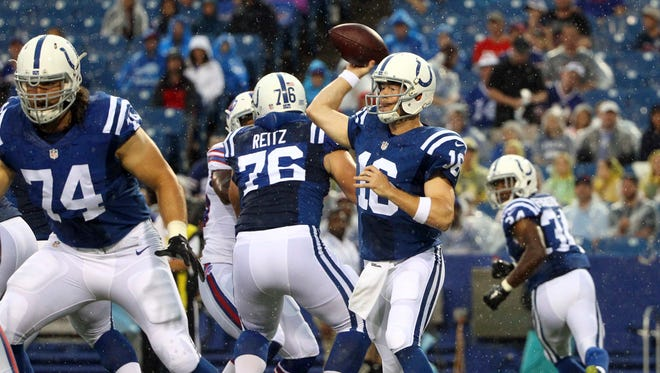 Indianapolis Colts quarterback Scott Tolzien (16) passes behind a block by tackle Anthony Castonzo (74) during the first half of a preseason NFL football game against the Buffalo Bills on Saturday.
