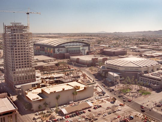 Bank One Ballpark, America West Arena and the construction
