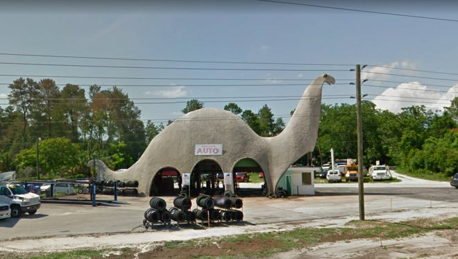 Florida: Harold's Auto Center in Spring Hill is dinosaur-shaped, as it was originally built by Sinclair Oil Co., whose logo is a dinosaur.