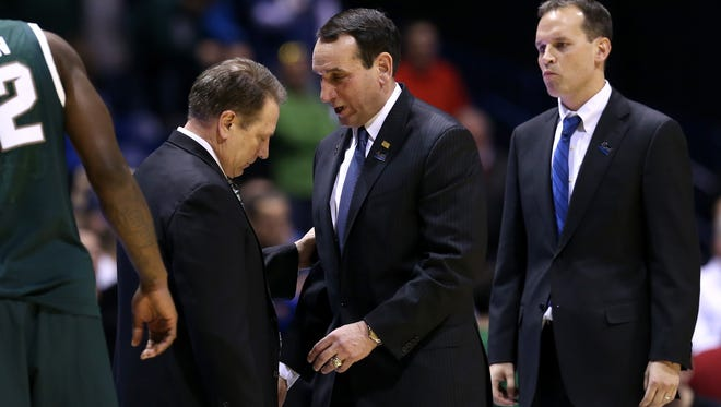 Michigan State and Tom Izzo, left, will likely run into Duke and Mike Krzyzewski, middle, a couple times on their path to whatever this season becomes. Same, perhaps, with Northwestern and Chris Collins, right.