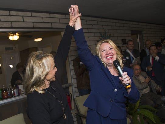 Former Gov. Jan Brewer, left, and Debbie Lesko, right,