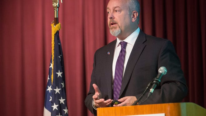 """Muncie Community School Superintendent Steve Baule gives his third annnual """"State of the School"""" speech to chamber of commerce members on Oct. 26 at the Horizon Convention Center."""