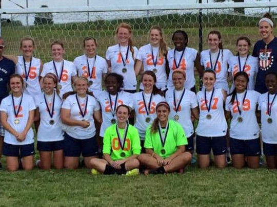 The Blackman girls soccer team won the Rebelette Invitational this weekend. In the bottom row, from left, are Kelsey Abernathy and Elise Chessor. In the second row, from left, are Erin Laubacher, Tyler Cosby, Jill Berosh, Hope Gallagher, Layne Nash, Kenzi Vetter, Brinley Vinson, Beth Sengsouk and Alaysha Russell. In the third row, from left, are coach Bill Vice, Carly Bowen, Mallory Conlin, Amelia Goodnight, Ashley Anderson, Kate Rudesill, Carrington MacKenzie, Jenna Kleinschmit, Emily Nash and assistant coach Katie Smith.