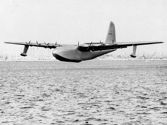 Howard Hughes' 800-ton, 210-foot-long flying boat with