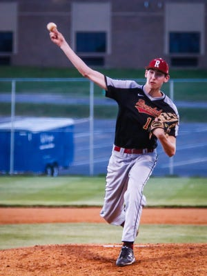Riverdale's Brayden Siren fires a pitch during a 2018 game. Siren recently committed to MTSU.
