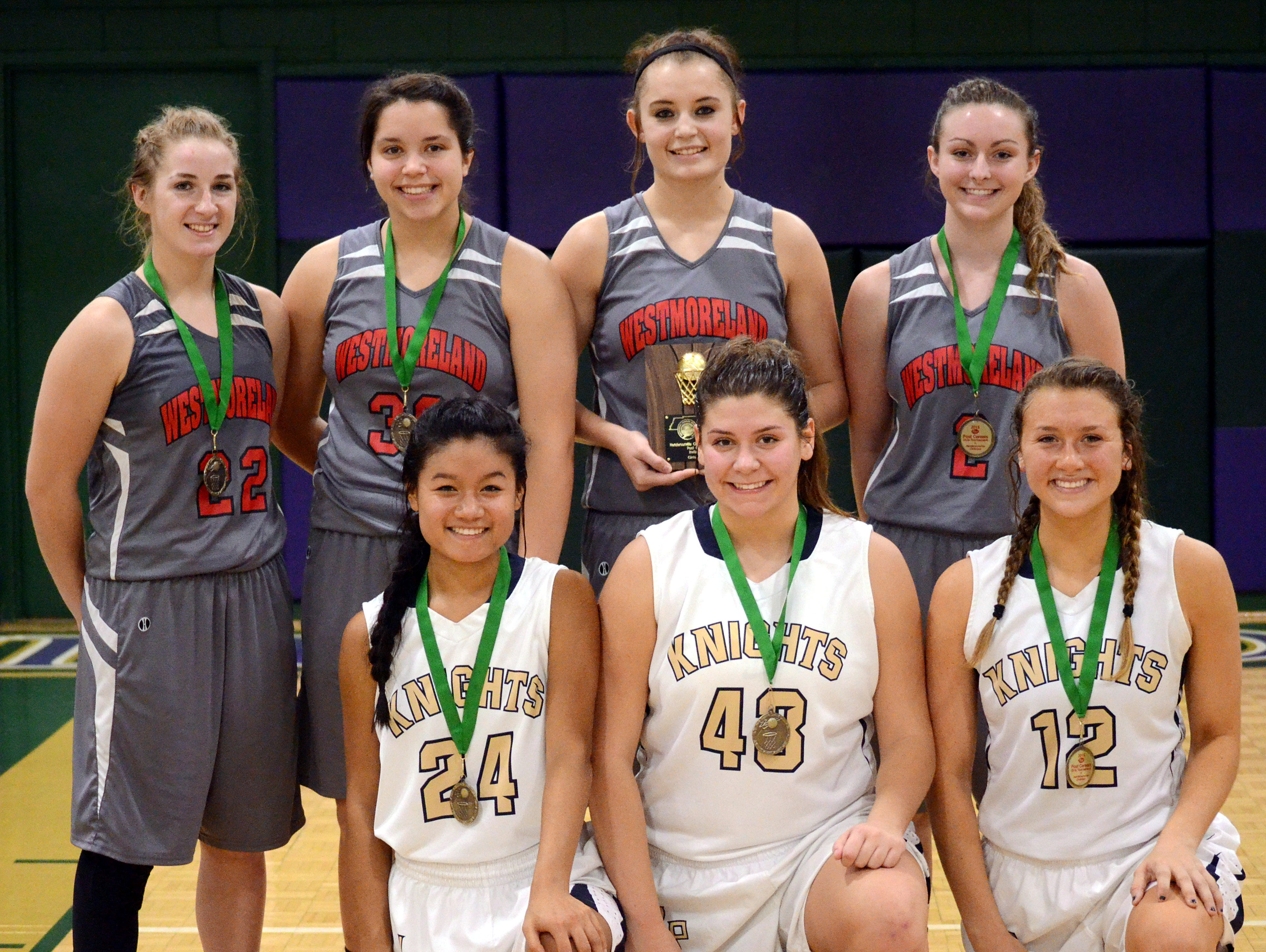 Included among the members of the Post Brand Cereal Girls All-Tournament Team include: (kneeling, L to R) Pope John Paul II High senior Mercedes Smith, Pope John Paul II senior Windee Johnson, Pope John Paul II senior Sophie Kolbe, (standing) Westmoreland senior Jesica Eppstein, Westmoreland junior Karley Smith, Westmoreland junior Kaitlyn Norman (most valuable player) and Westmoreland senior Haley Braswell.