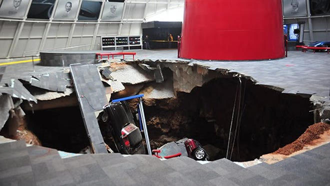 A massive, 40-foot sink hole at the National Corvette Museum in Bowling Green swallowed eight of the sports cars on display inside the the facility's iconic Sky Dome, said executive director Wendell Strode.