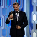"""73rd ANNUAL GOLDEN GLOBE AWARDS -- Pictured: (l-r) Leonardo DiCaprio, """"The Revenant"""", Winner, Best Actor - Motion Picture, Drama at the 73rd Annual Golden Globe Awards held at the Beverly Hilton Hotel on January 10, 2016"""