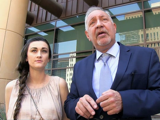 "Daniel Shaver's widow Laney Sweet (left) has hired L.A. based attorney Mark Geragos, who made a statement outside court on May 3, 2016. Daniel Shaver was shot and killed by Mesa Officer Phillip ""Mitch"" Brailsford."
