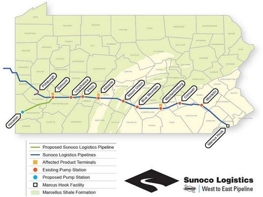 The map shows the Mariner East Project from Marcus Hook in Delaware County to terminal in Delmont. It passes through terminals in Sinking Springs, which is named Montello and in Quentin, which is labeled Cornwall.