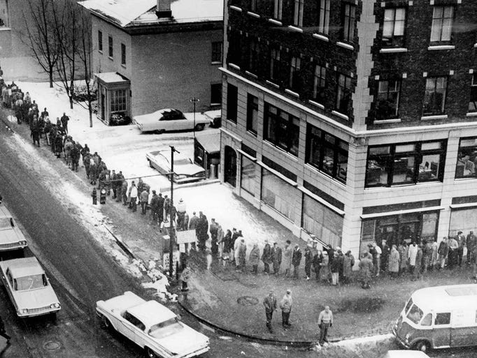 They Waited Long - Line of last minute license applicants